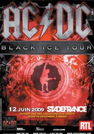 Poster for AC/DC live in  Paris, France - June 12 2009