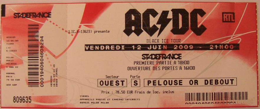 Ticket for AC/DC at the Stade de France in Paris, June 2009