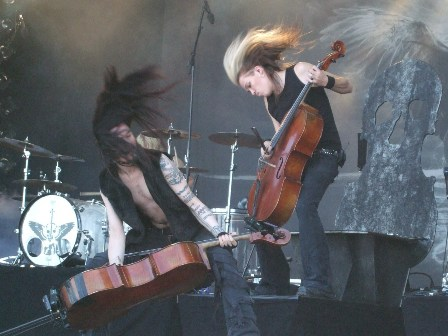 Perttu Kivilaakso and Eicca Toppinen from Apocalyptica live at Sweden Rock Festival, Sweden, June 2008
