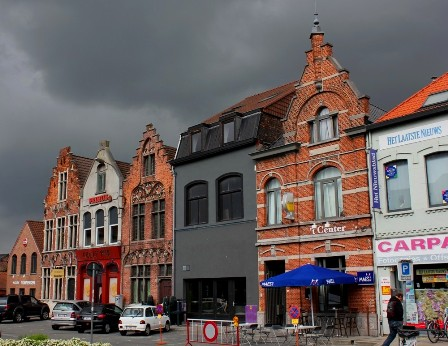 The square out of the station of Deinze, Belgium