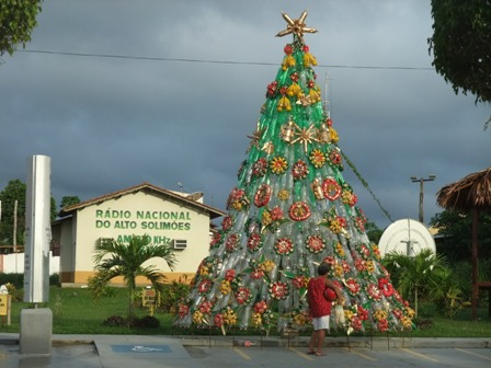 Christmas tree made of recycled bottles in Tabatinga, Brazil