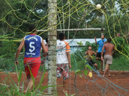 Kids playing football in Tabatinga, Amazon rainforest, Brazil