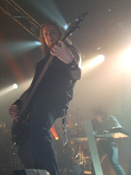 Daniel Antonsson playing bass with Dark Tranquillity at La Locomotive, Paris, France, October 28 2008