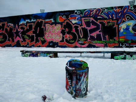 The Berlin Wall and with snow and graffiti