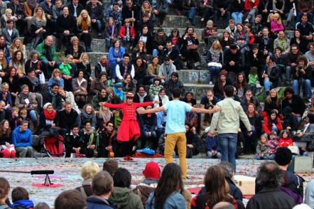 Performers at the Mauerpark Amphitheater in Berlin