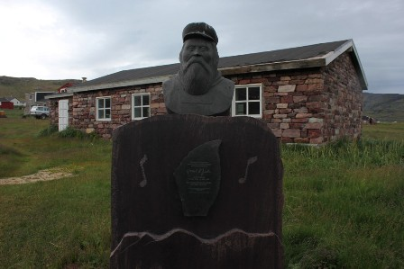 A monuent to the poet and musician Jacob II Egede in Igaliku, Greenland
