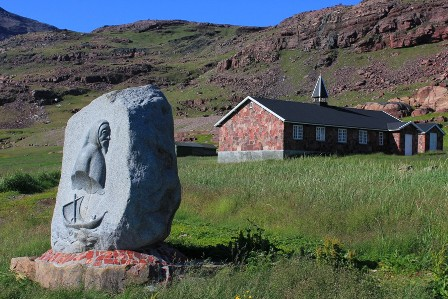 The viking stone and the church of Igaliku
