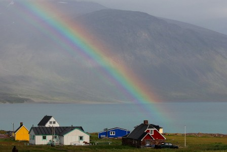 After the rain comes the rainbow. Igaliku, Greenland
