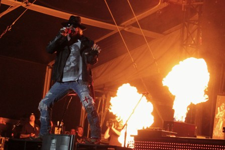 Axl Rose on fire with Guns'n'Roses