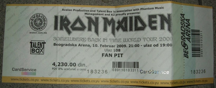Iron Maiden Belgrade Ticket