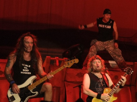 Steve Harris, Adrian Smith and Bruce Dickinson in Valencia