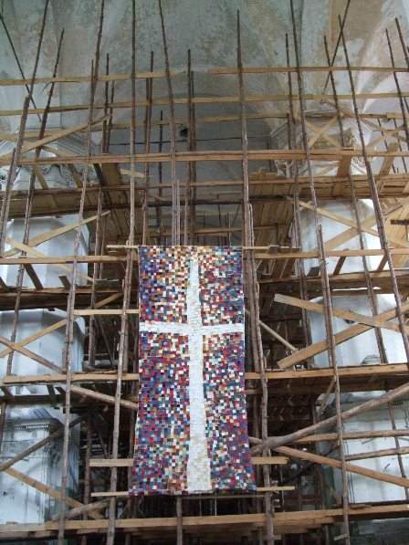 Restoration works are going on: Inside the Church Of the Holy Trinity, Vilnius