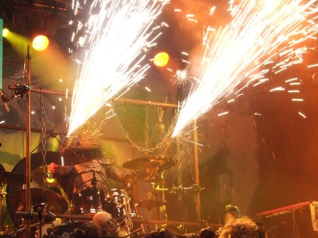 Kita's drumsticks on fire - Lordi live in  Paris, France - February 18 2009