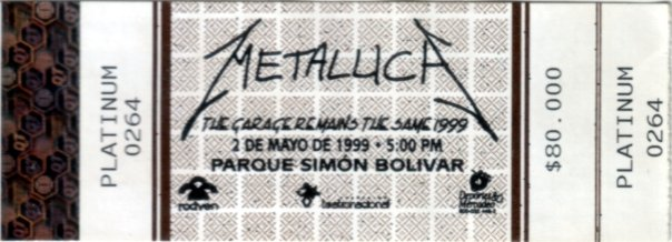 Metallica Bogotá ticket - May 2 1999