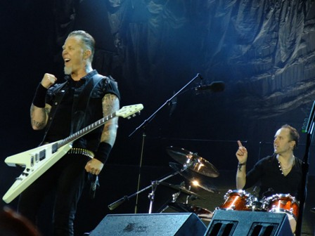 James Hetfield and Lars Ulrich from Metallica playing at Rock Werchter Festival, Werchter