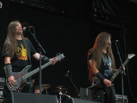 Kai Schindelar and Jens Sonnenberg from Sacred Steel live at the Bang Your Head