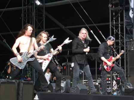 Nibbs, Doug, Biff and Paul from Saxon live at Graspop Festival, Belgium, June 2008