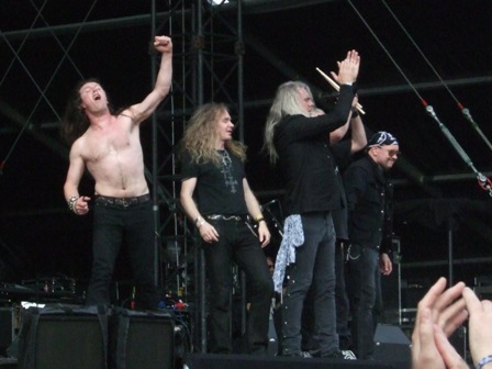 Nibbs, Doug, Biff, Nigel  and Paul from Saxon live at Graspop Festival, Belgium, June 2008