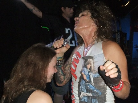 Michael Starr close to a Steel Panther fan