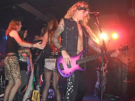 Steel Panther fans on stage