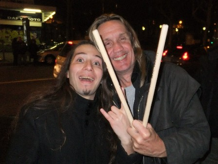 We're all music fans: Metal Traveller and Nicko McBrain from Iron Maiden with Brian Downey's drumsticks