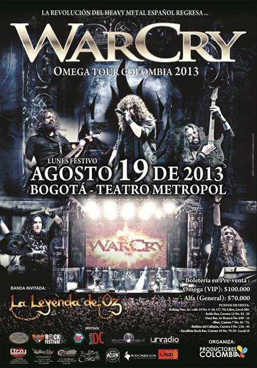 Poster from Warcry concert in Bogotá